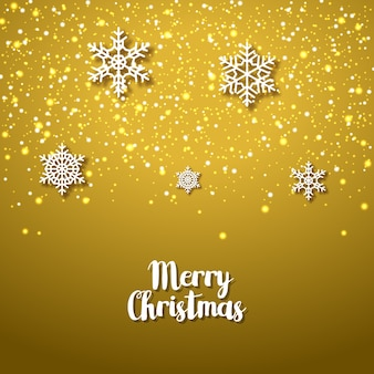 Festlicher goldener hintergrund mit schneeflocken. weihnachtsfest der weihnachtswinterferien. jubiläumskarte.