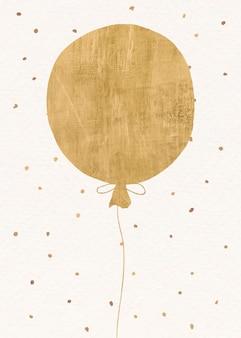 Festlicher hintergrund der goldenen balloneinladungskarte