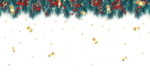 Festlicher hintergrund des neuen jahres. weihnachtsbaumaste mit stechpalmenbeeren, konfetti und weihnachtskugeln. hintergrund des feiertags. vektor-illustration.