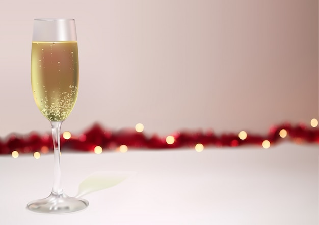 Festlicher hintergrund mit champagnerglas