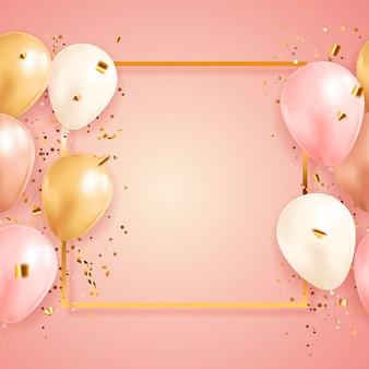 Festlicher hintergrund mit konfetti und luftballons und goldenem rahmen