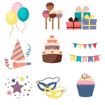 Festlicher hut des partykarnevals, maske, geschenke, ballon.