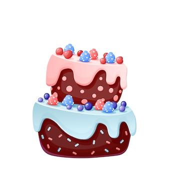 Festlicher kuchen der netten karikatur mit süßigkeiten. schokoladenkeks mit kirschen und blaubeeren.