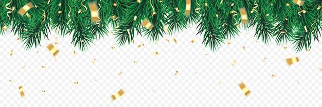 Festlicher weihnachts- oder neujahrshintergrund. weihnachtsbaumbaumzweige mit konfetti. urlaub hintergrund.
