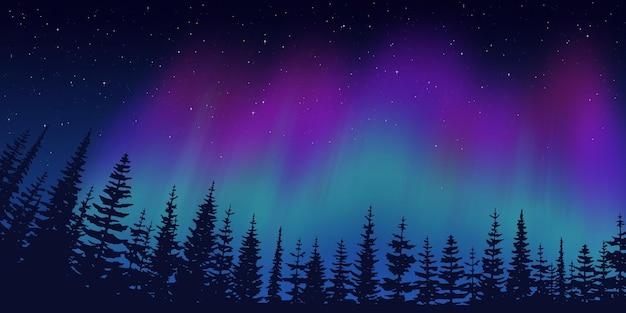 Festlicher weihnachtshintergrund, wald auf dem hintergrund der polarlichter