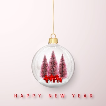 Festlicher weihnachtshintergrund. weihnachtskiefer und glänzende glitzernde leuchtende weihnachtskugeln.