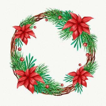 Festlicher weihnachtskranz mit blumen