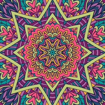 Festliches buntes mandala-stern-kunstmuster geometrisches medaillon-doodle boho-stil ornamente