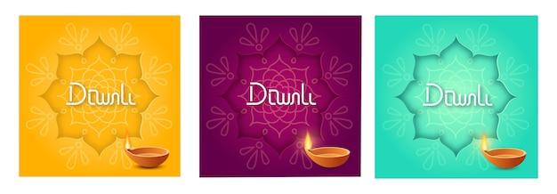 Festliches diwali-plakatset