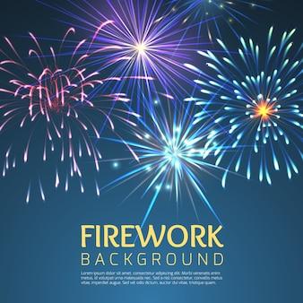 Festliches feuerwerk. feiertagsfeier, festlich und explodierend, fest und karneval, weihnachten oder neujahrsillustration