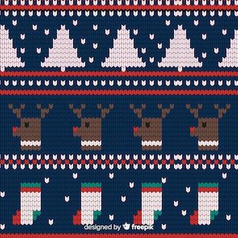 Festliches gestricktes weihnachtsmuster