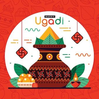 Festliches glückliches ugadi flaches design