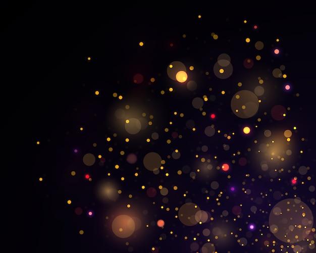Festliches goldenes leuchtendes mit buntem lichter bokeh