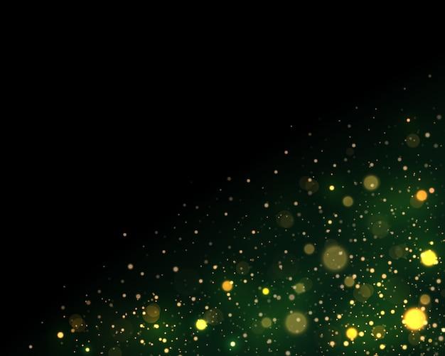 Festliches grünes und goldenes leuchtendes mit buntem lichter bokeh.