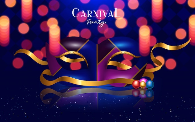 Festliches konzept des glücklichen karnevals mit musikalischer trompetenmaske