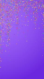 Festliches künstlerisches konfetti. stars zum feiern. kindliche helle sterne auf violettem hintergrund. glamouröse festliche overlay-vorlage. vertikaler vektorhintergrund.