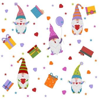 Festliches muster von zwergen mit luftballons und geschenken, isolierte darstellung auf weißem hintergrund