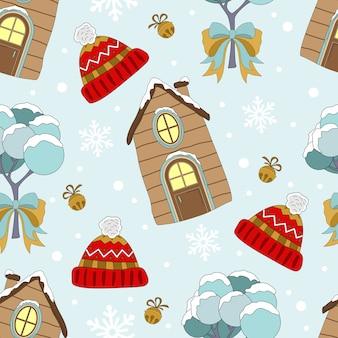 Festliches nahtloses muster für weihnachten und neujahr zum verpacken von papier oder stoff mit verschiedenen elementen. modischer vintage-stil.