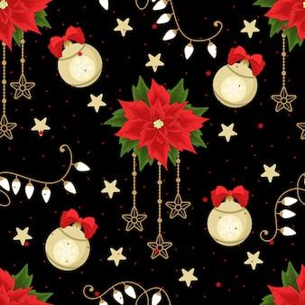 Festliches nahtloses muster für weihnachten und neujahr zum verpacken von papier oder stoff mit verschiedenen elementen