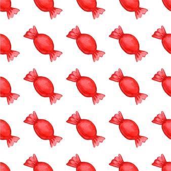 Festliches nahtloses muster mit süßigkeiten in einer roten wrapper-vektorillustration