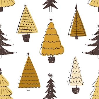 Festliches nahtloses muster mit verschiedenen weihnachtsbäumen, tannen oder fichten.