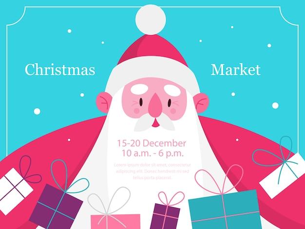 Festliches plakat für weihnachtsmarkt mit weihnachtsmann. weihnachtsmann, der geschenkkarte hält. weihnachtsmann-gruß für traditionelles feiertagsereignis. illustration im cartoon-stil.