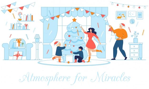 Festliches plakat mit der glücklichen familie, die nach hause verziert