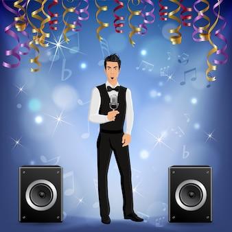 Festliches präsentationsereignis party feier musikkonzert realistisches bild mit sänger auf der bühne lautsprecher serpentin streamer