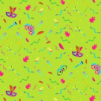 Festliches thema des brasilianischen karnevalsmusters des flachen designs