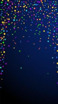 Festliches unglaubliches konfetti. stars zum feiern. festliches konfetti auf dunkelblauem hintergrund. glamouröse festliche overlay-vorlage. vertikaler vektorhintergrund.