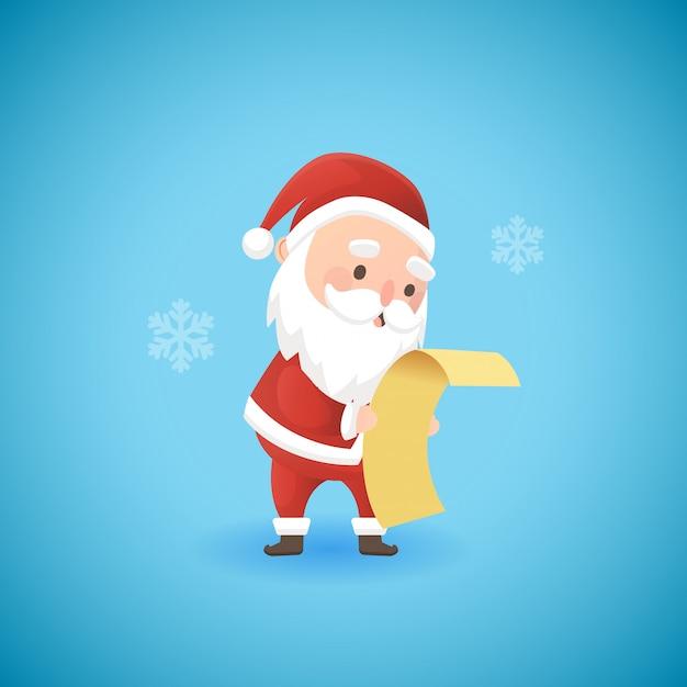 Festliches weihnachten lustige santa claus, die geschenkliste, vektorillustration hält.