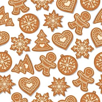 Festliches weihnachtsnahtloses muster mit lebkuchen