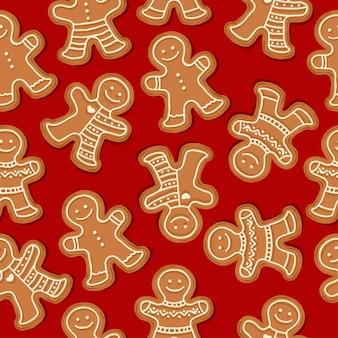 Festliches weihnachtsnahtloses muster mit lebkuchenmännern