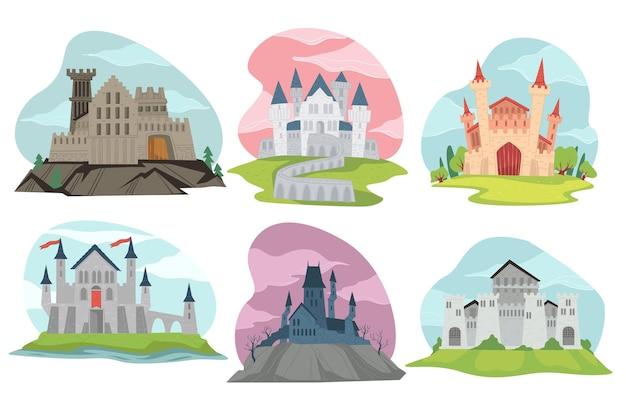 Festungen und fantasieschlösser, mittelalterliche architektur aus stein
