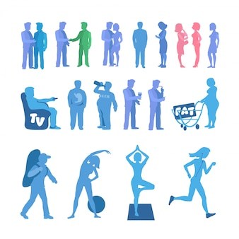 Fett und sport silhouette. aktive und körperliche inaktivität silhouette festgelegt. gute und schlechte gewohnheiten. geschichteten vektor-illustration.
