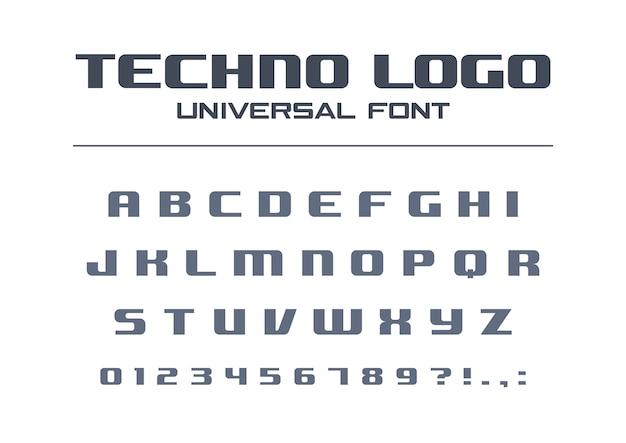 Fettdruck der technologie. geometrischer typografiestil. sportliches, futuristisches, zukünftiges techno-alphabet. briefe, zahlen für die militärindustrie, firmenlogo. moderne minimalistische schrift