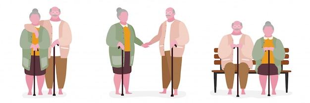 Fette charakterillustration der älteren paare