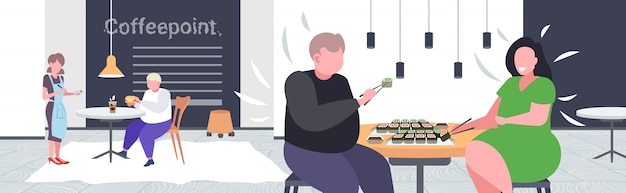 Fette fettleibige mannfrau, die übergewichtiges sushi-paar isst, das am kaffeetisch sitzt und fettleibigkeit des ungesunden ernährungskonzepts des modernen kaffeepunkt-innenraums beim mittagessen hat