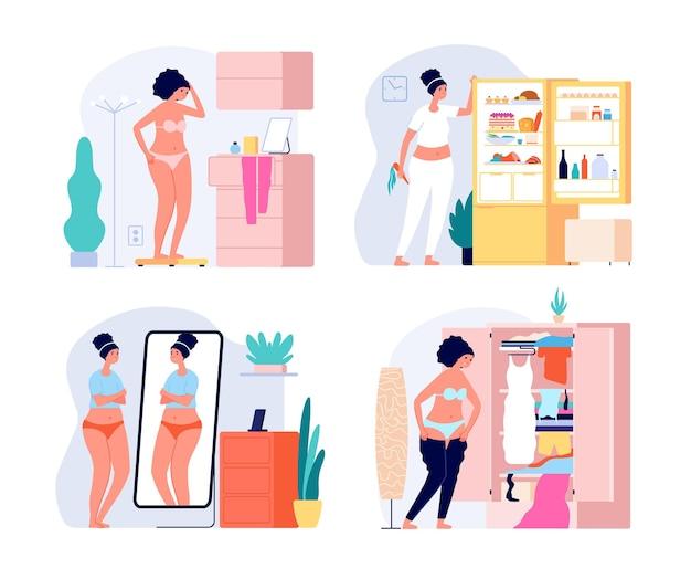 Fette frau. gewichtsprobleme, größe plus mädchen und spiegel. unglückliche frau in unterwäsche, depression aufgrund von fettleibigkeit. körperpositives vektorkonzept. fette körperfigur frau, mädchen übergewichtig ungesunde illustration