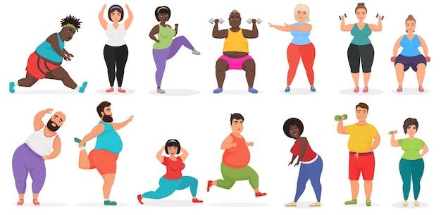 Fette süße leute, die fitness-übungstraining tun. mann und frau fitnessstudio training