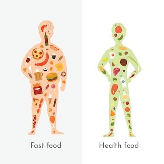 Fette und schlanke mannvektorillustration. gesundes essen gegen fastfood. gesunde und ungesunde ernährung. menschlicher körper und junk food gegen ausgewogenes menü.