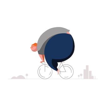Fette und übergewichtige männer, die fahrrad für diät fahren