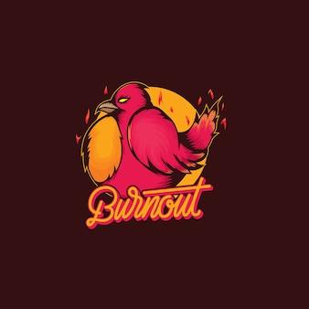 Fetter burnout-vogellogovektor