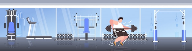 Fetter fettleibiger mann, der langhantel übergewichtigen kerl cardio-training workout gewichtsverlust konzept moderne turnhalle interieur hebt