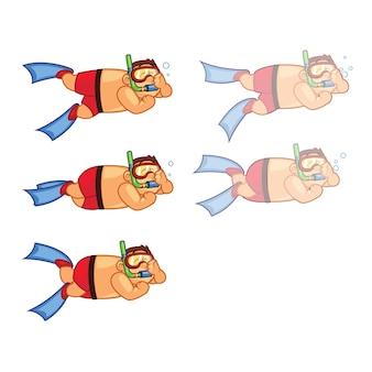 Fetter jungen-taucherkarikatur animation sprite