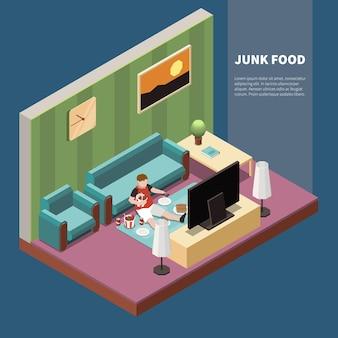 Fetter kerl, der junk-food isst und isometrische 3d-darstellung der völlerei im fernsehen sieht