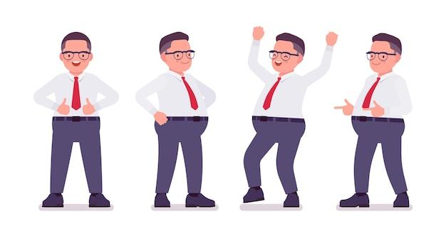 Fetter männlicher angestellter beschäftigt mit positiven emotionen