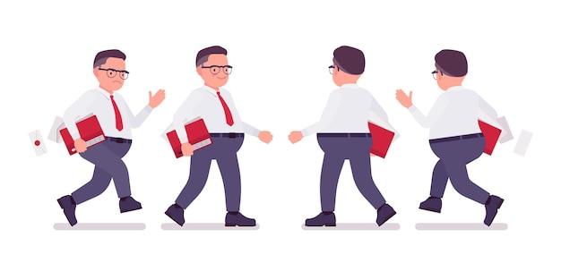 Fetter männlicher angestellter, der beschäftigt ist, zu gehen, zu laufen