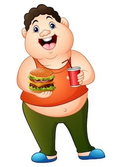 Fetter mann der karikatur, der einen hamburger mit trinkendem soda hält