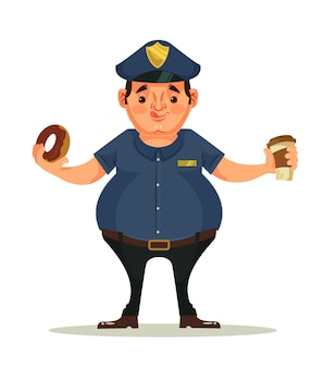 Fetter polizistcharakter, der donuts isst und kaffee trinkt